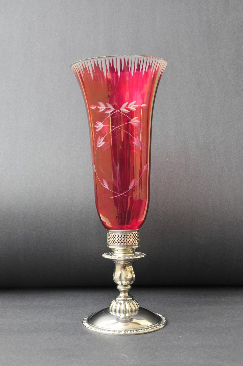 19th C. Hand- Blown  Cranberry Glass & Silver Plate Candle Stand