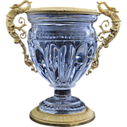 Antique  French Empire Jardiniere, Crystal with  Bronze Dore