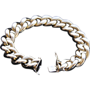 Exquisite Vintage Italian Chunky 18K Yellow Gold Large Link Bracelet
