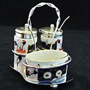 Highly Decorative, English Staffordshire Circa 1820 Condiment Set