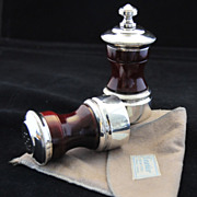 CARTIER ELEGANCE!  Vintage Sterling Silver & Walnut Salt  Shaker & Pepper Grinder