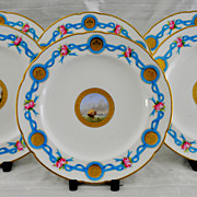 Circa 1860  Set of Six Minton Hand-Painted Cabinet Plates