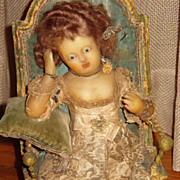 SALE Charming  Early Poured Wax Continental Girl in Chair