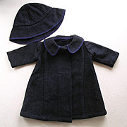 SALE Vintage Wool Doll's Coat & Hat