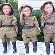 "SALE Set of Three - 4"" Composition Soldiers"