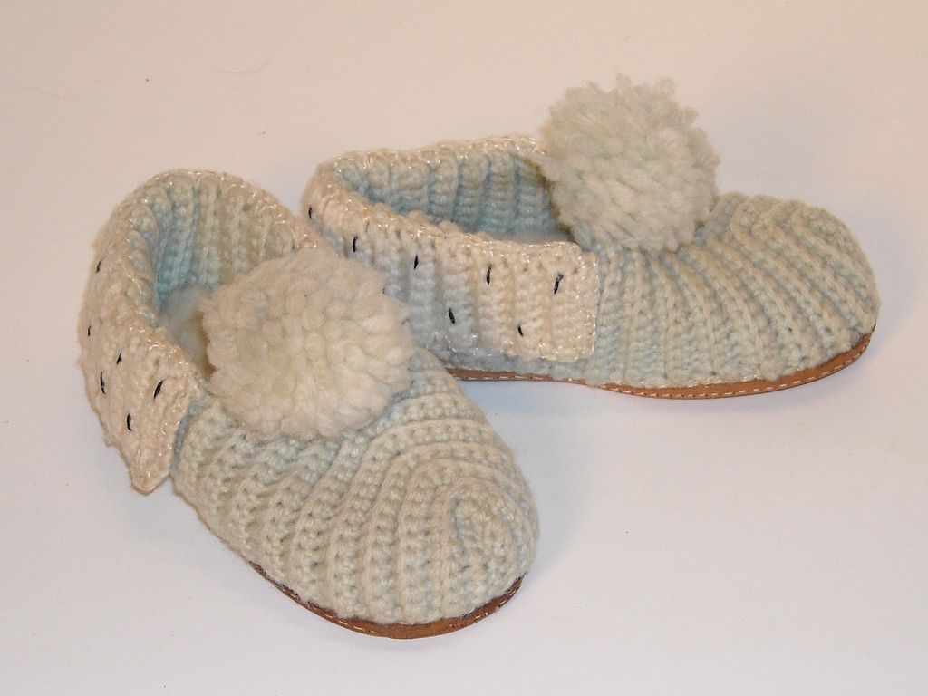 Knit Wool Slippers with Leather Soles from dollroom on Ruby Lane