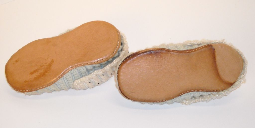 Knitting Patterns For Slippers With Leather Soles : Knit Wool Slippers with Leather Soles from dollroom on Ruby Lane