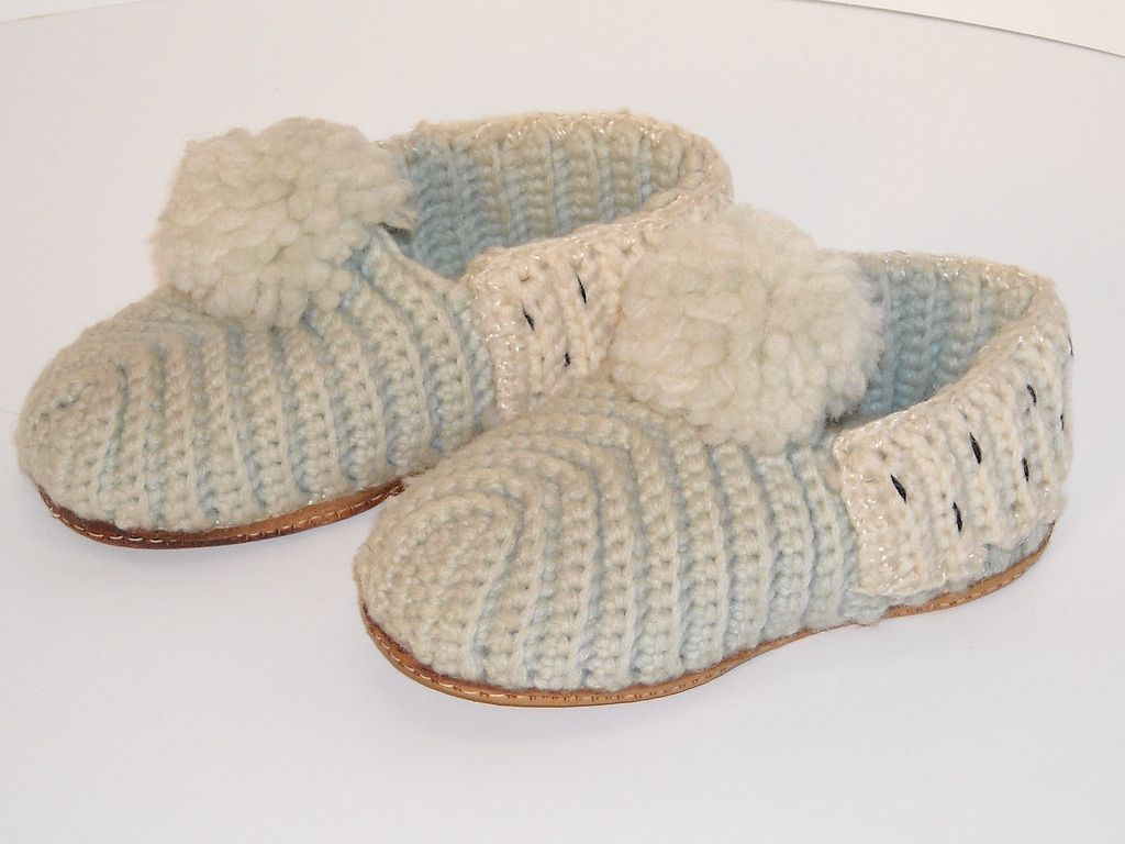 Knitting Pattern For Slippers With Soles : Knit Wool Slippers with Leather Soles from dollroom on Ruby Lane