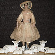 Set of Eight Porcelain Sheep ~ Germany