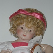 "10 1/4"" All Porcelain Doll w/ Cloth Doll"