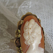 Antique Shell Cameo Ring Set in 10 Karat Yellow Gold