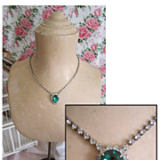 Vintage Blue Faceted Faux Gem and Rhinestone Necklace