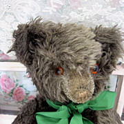 Great Charcoal Mohair Bear Circa 1930s