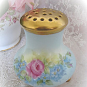 Big Roses Vintage Forget Me Nots Hand Painted Powder Jar Gilded