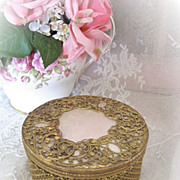 Vintage Glass and Ornate Gilded Powder or Dresser Box Jar