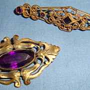 2 Lovely Antique Victorian Pin Brooch with Purple Amethyst Color Stones