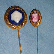 2 Vintage Stickpin Pins with Cameo Faces