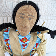 Sioux Indian doll Marvelous beadwork great wooden face 8 inches