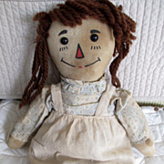 Volland Raggedy Ann with wooden heart original dress outlined nose