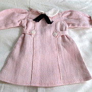 SOLD Bleuette  doll dress pink corded has original hooks and eyes