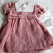 SOLD Bleuette  doll dress in pink linen