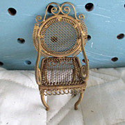 Dollhouse minature chair gold ormolu