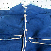Primitive Blue Dress trimed in white with handmade buttons
