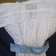 White Victorian doll dress 14 inch long has blue tie