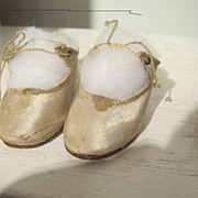 Size 8 white silk doll shoes