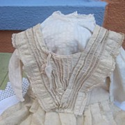 Antique Doll Dress very special light wool chambray