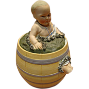 REDUCED Porcelain Heubach Quality Figure of Child Seated in a Barrel