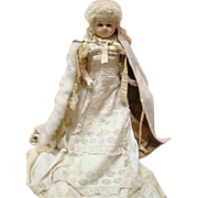 SALE Extraordinarily Fine Condition Antique Wax Over Paper Mache Doll, Glass Eyes