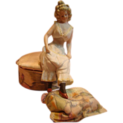 REDUCED Beautiful Antique Bisque Lady Attached to a Silk Covered Bon-Bon Box