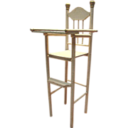 Antique Wooden High Chair for 12-15 Inch Doll, Spiral Design, Original Paint
