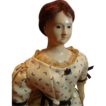 REDUCED 14 Inch Early French Paper Mache Lady with Glass Eyes