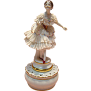 Unusual Signed Dresden Dancer on Top of a Two Piece Container