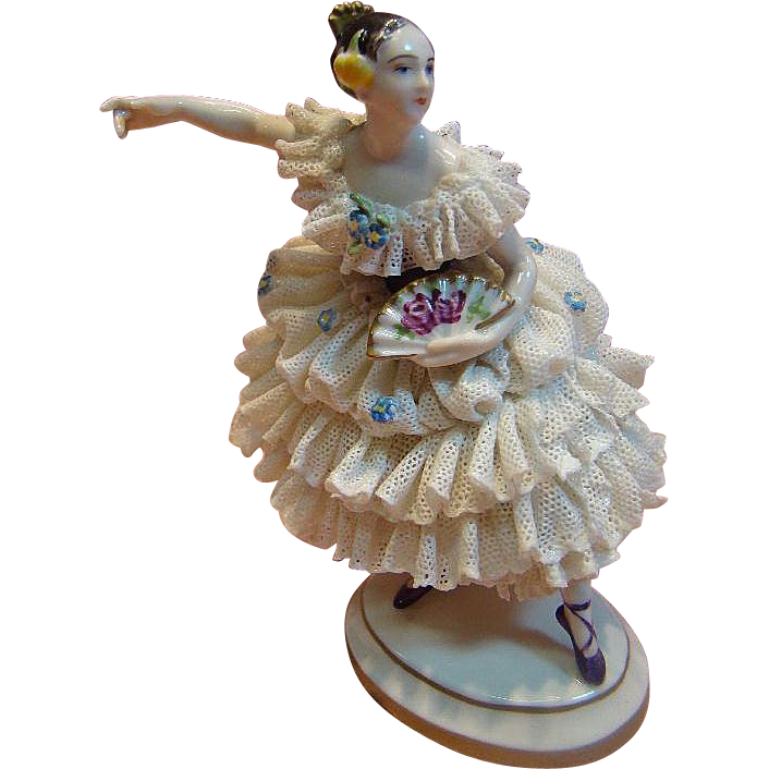 German Dresden Porcelain Figurine of Lady with Fan and Comb in her Hair