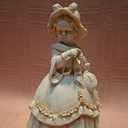 Superb Antique White Washed Porcelain Victorian Bonnet Child Figurine
