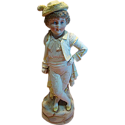 17 Inch Fine Antique Porcelain Figurine of Young Boy