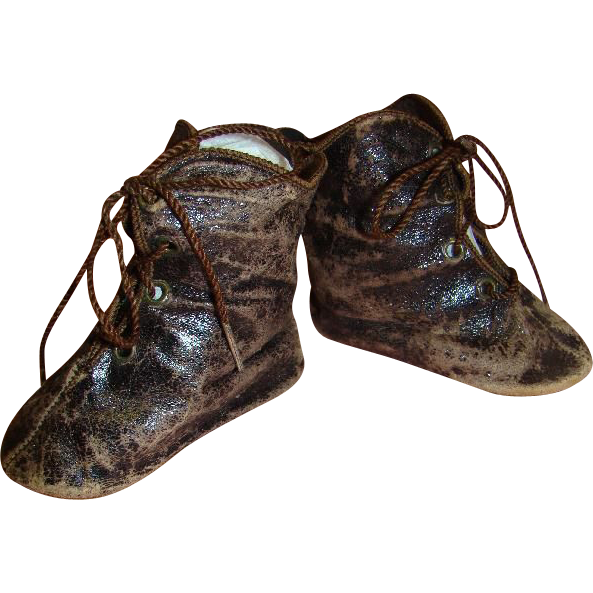 "Antique French Leather Boots, Sz 12, for Large Bebe, Mrkd ""C.M."""