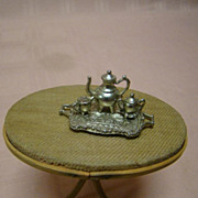 Mini Four Piece Pewter Tea Set for All Bisque Doll Setting