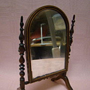 Antique Miniature Walnut Mirror Stand for a French Fashion