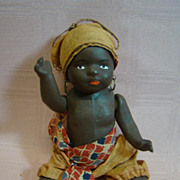 7 In. Original Paper Mache Black Toddler in African Native Costume