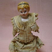 4-1/2 In. 1890's All original German Dollhouse Girl Doll