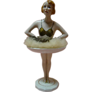 Large Art Deco Half Doll on Saucer and Pedestal Legs, Mrkd Paris France