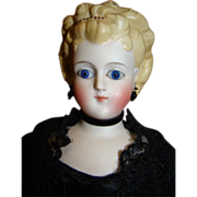 16 In. Parian-type with Fancy Hairdo, Glass Eyes, Hair Beading