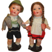 14 In. Pair of German Painted Bisque Toddlers, Near Mint w Original Tags