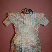 Silk Dress for French Bebe or German Child Doll, Lace Trim