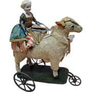 REDUCED Antique Mechanical Toy with Bisque Lady Riding a Paper Mache Lamb