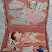 "SALE PENDING 13.5"" Molded Hair 1950s Tiny Tears Doll - Unplayed with Doll -- in CASE"